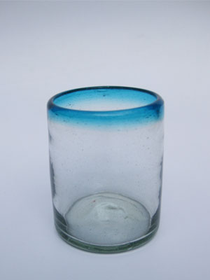 MEXICAN GLASSWARE / 'Aqua Blue Rim' tumblers (set of 6)